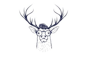 Deer head in glasses
