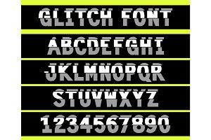 80s style VHS glitch font