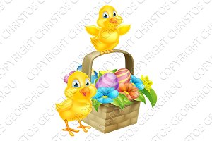 Cartoon Chicks and Easter Eggs Basket