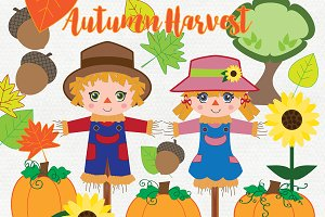 Autumn Scarecrows & Pumpkins