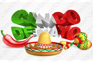 Cinco De Mayo Sign Sombrero Maracas and Pepper