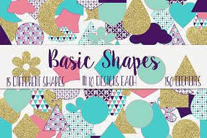 Basic Shapes Elements Purple & Gold