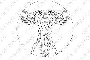 Vitruvian Man Caduceus