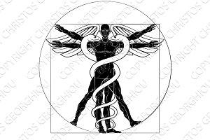 Caduceus Vitruvian Man