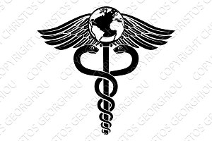 Globe Caduceus Medical Symbol