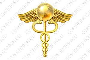 Caduceus Globe Medical Symbol Concept