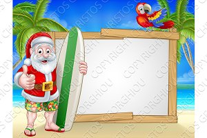 Tropical Santa Beach Background