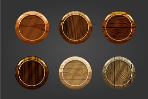 Set of wooden round buttons