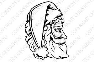Christmas Santa Claus Woodcut Style