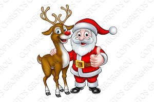 Santa and Christmas Reindeer