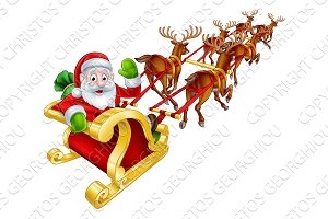 Santa and Reindeer Christmas Sleigh
