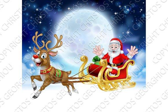 cartoon santa reindeer sleigh christmas scene objects - Christmas Sled
