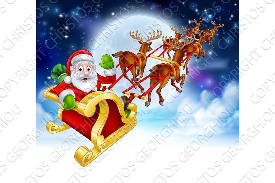 Santa Reindeer Sleigh Cartoon Christmas