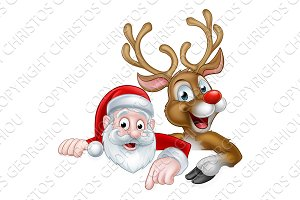 Cartoon Christmas Santa and Reindeer
