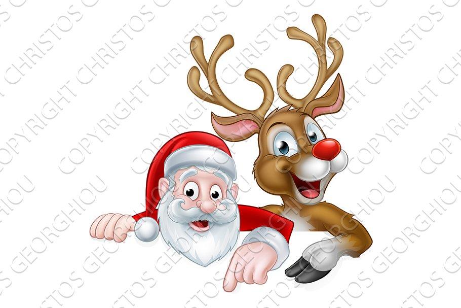 Cartoon Christmas Santa and Reindeer