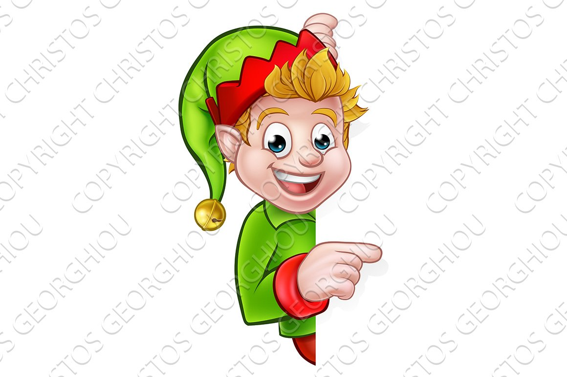 Pointing Christmas Elf Cartoon Character ~ Graphic Objects ...