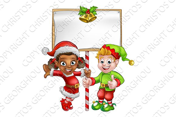 Cartoon Christmas Elves Holding Sign