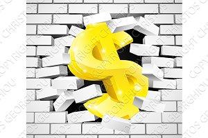 Dollar Sign Breaking Through White Brick Wall