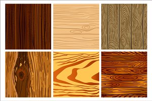 Set of wooden seamless pattern