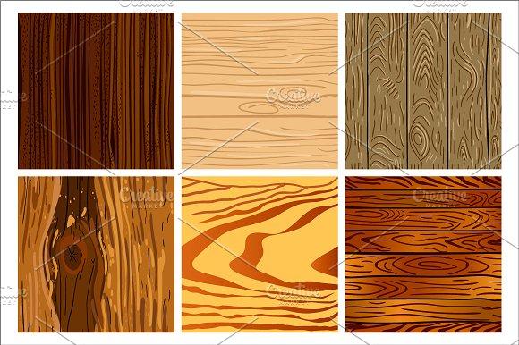 Set of wooden seamless pattern