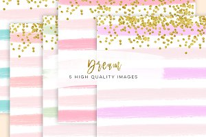 Digital Paper Watercolor Stripes