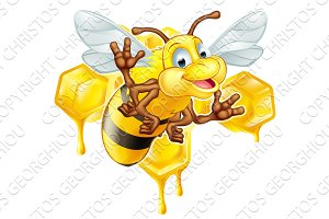 Cartoon cute bee and honey