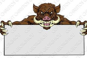 Boar Razorback Sign