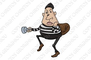Thief or burglar cartoon