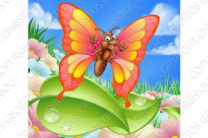 Cartoon Butterfly in Meadow
