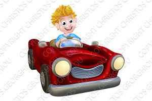 Cartoon Boy Driving Car