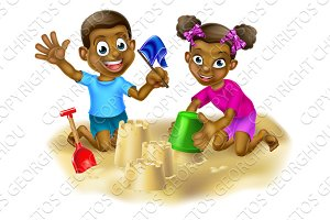 Boy and Girl Making Sand Castles