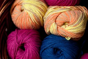 Colorful skeins in the basket