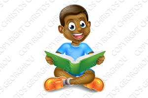 Cartoon Boy Reading Book