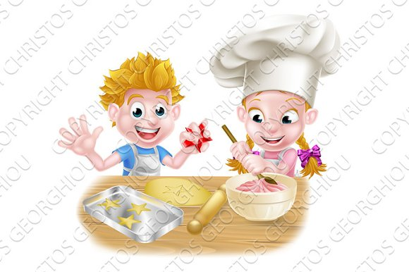 Cartoon Boy And Girl Baking