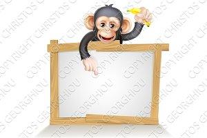 Cartoon Chimp Monnkey Sign