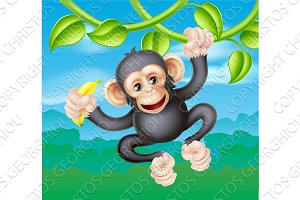 Cartoon Chimp with Banana