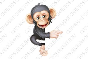 Cartoon Chimp Monkey Pointing