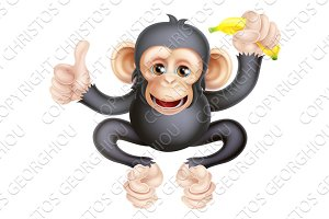 Cartoon Chimp Monkey With Banana