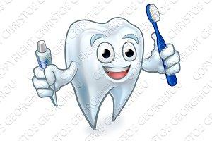 Tooth Mascot Cartoon Character