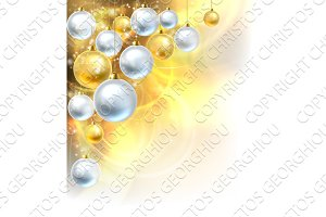 Christmas Baubles Gold and Silver Background