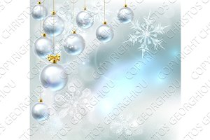 Christmas Baubles Snowflakes Background