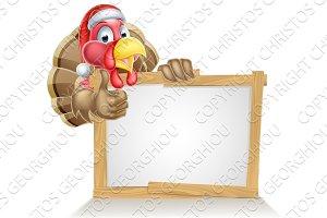Santa hat turkey sign