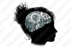 Machine Workings Gears Cogs Brain Woman Concept