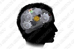 Machine Workings Gears Cogs Brain Man