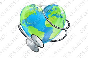 Earth Heart World Health Day Stethoscope Globe Concept