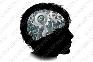 Machine Workings Gears Cogs Brain Child Concept