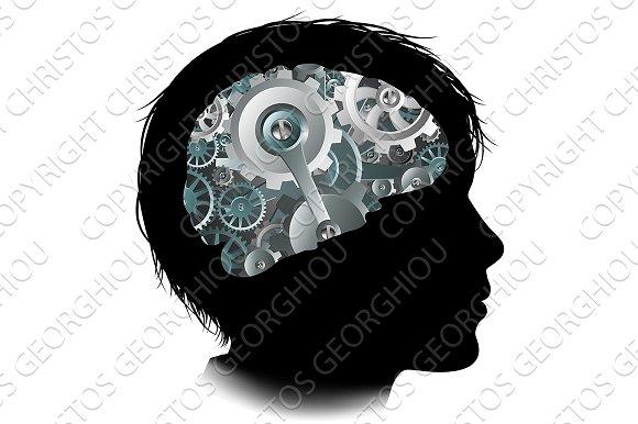 Machine Workings Gears Cogs Brain Child Concept