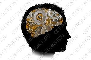 Man Machine Workings Gears Cogs Brain