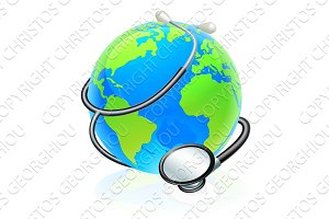 Earth World Health Day Stethoscope Globe Concept