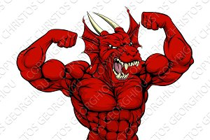 Tough Red Dragon Mascot